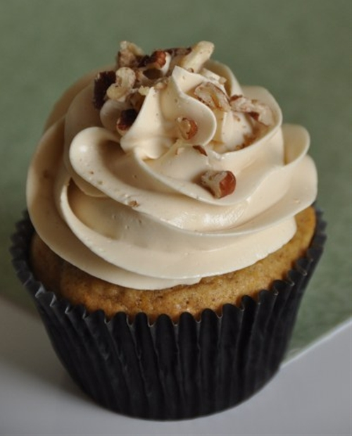 Pumpkin Pecan Cupcakes with Rum and Brown Sugar Meringue Buttercream