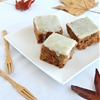 Apple and pecan sheet cake with lime icing
