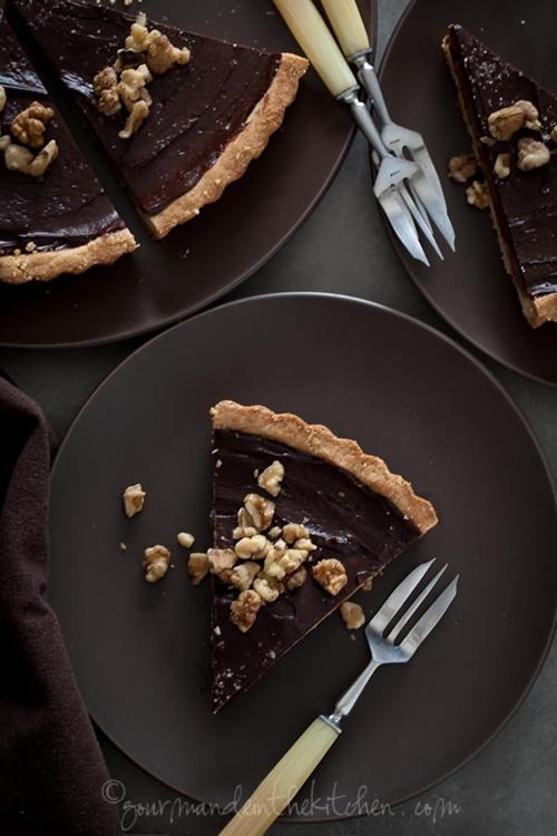 Chocolate Date Caramel Walnut Tart (Gluten-Free, Grain-Free, Vegan)