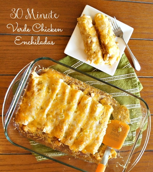 Easy Verde Chicken Enchiladas