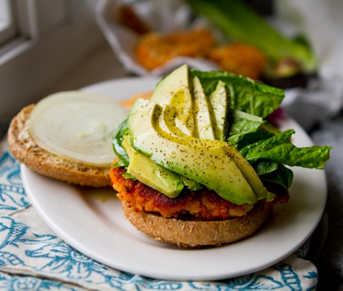 Sweet Potato Veggie Burgers With Avocado