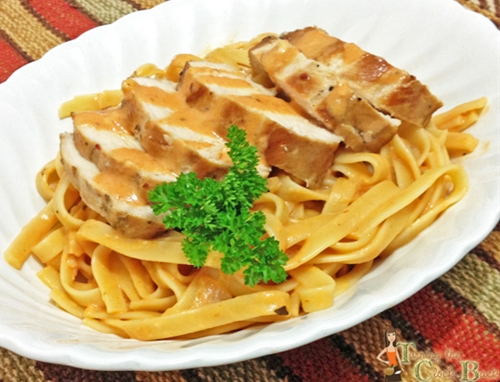 Fettuccine with Grilled Chicken in a Tomato Cream Sauce