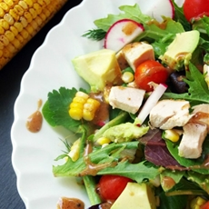 Chili and Lime Roasted Corn Salad with Avocado and Chicken