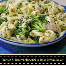 Chicken Broccoli Tortellini in Basil Cream Sauce