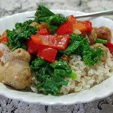 Sausage and Kale Saute over Brown Rice