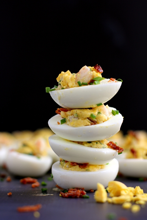 Shrimp and Bacon Stuffed Deviled Eggs