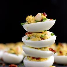 Shrimp and Bacon Stuffed Deviled Eggs