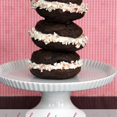 Dark Chocolate Whoopie Pies with Peppermint Mocha Cream