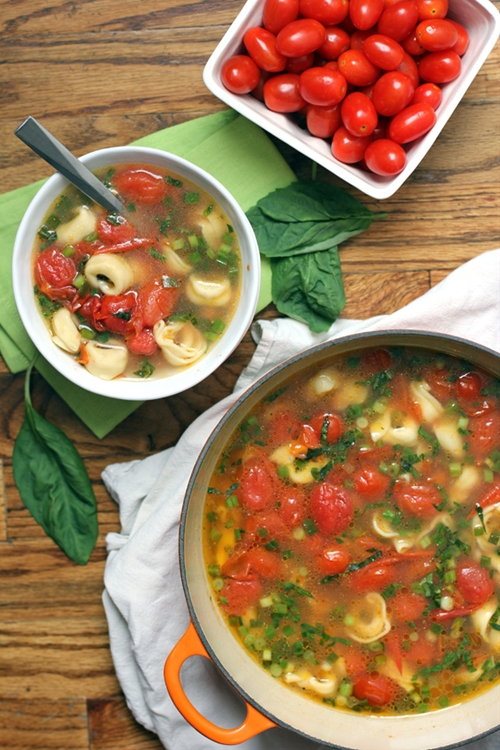 Cherry Tomato and Tortellini Soup