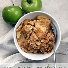 Pear Ginger Apple Crisp with Shortbread Crumble
