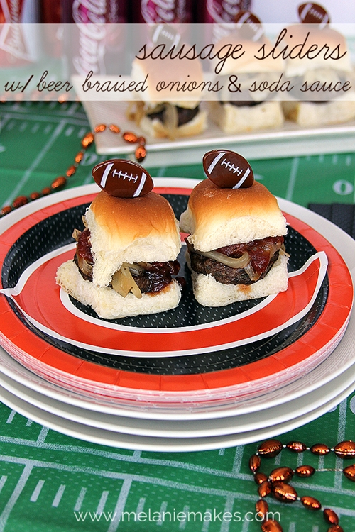 Sausage Sliders with Beer Braised Onions and Soda Sauce