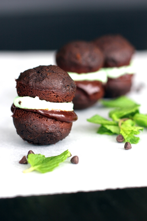 Mini Mint Chocolate Chip Whoopie Pies