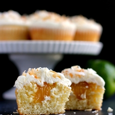 Key Lime Curd Stuffed Corona Cupcakes with Coconut Buttercream
