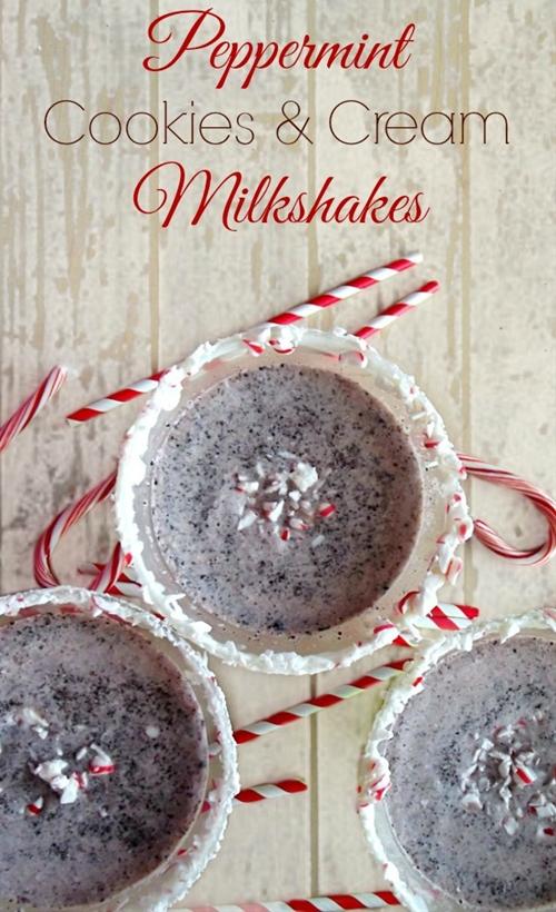 Peppermint Cookies and Cream Milkshakes