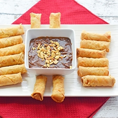 Spring Rolls with Spicy Hoisin Peanut Dipping Sauce