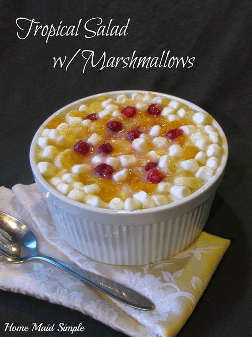 Tropical salad with marshmallows