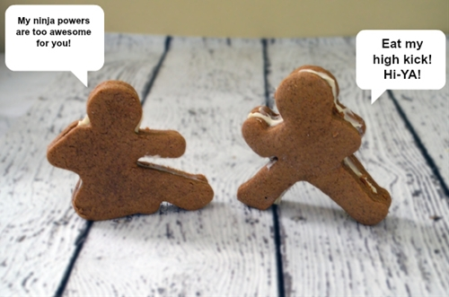 Ninja gingerbread men cookies that kick ass