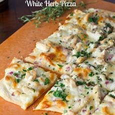 Roasted Garlic, Chicken & Herb White Pizza