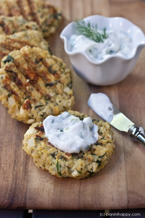 Spinach-Feta Quinoa Cakes with Lemon-Dill Yogurt Sauce