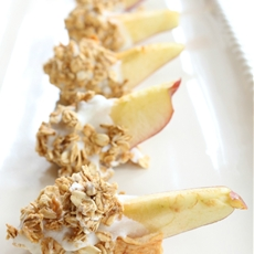 Granola & Yogurt Dipped Frozen Apple Slices