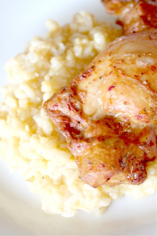 Roasted bell pepper & garlic chicken with butternut squash risotto