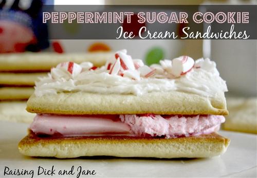 Sugar Cookie Peppermint Ice Cream Sandwiches recipe ...