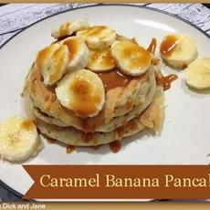 Caramel banana pancakes