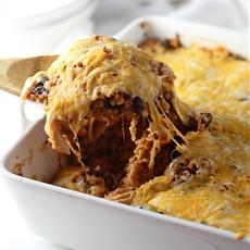 Cheesy Chicken Enchilada Quinoa Bake