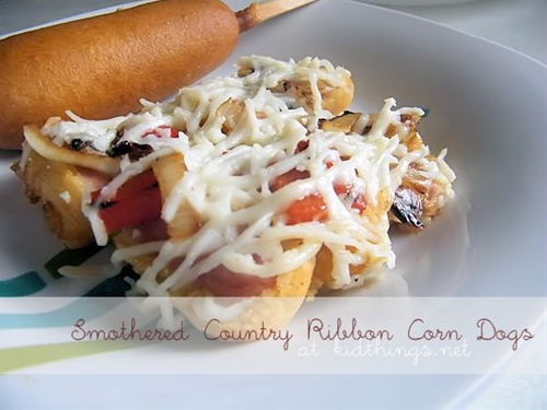Smothered (in cheese!) Corn Dogs