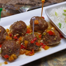 Baked Asian Meatballs with veggies in light Teriyaki sauce
