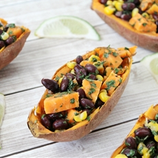 Honey-Lime, Black Bean, Corn Stuffed Sweet Potatoes