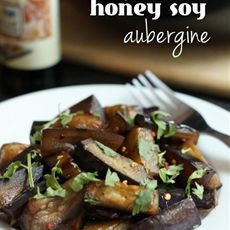 Sticky honey soy aubergine
