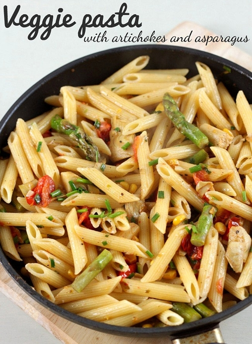 Veggie pasta with artichokes and asparagus