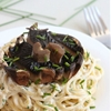 Creamy garlic spaghetti with roasted portobellos