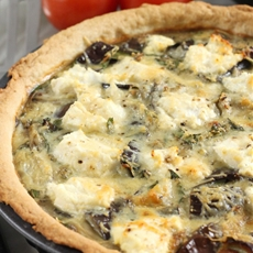 Roasted aubergine and ricotta tart