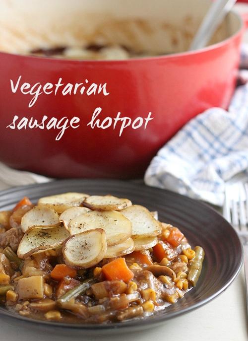 Vegetarian sausage hotpot