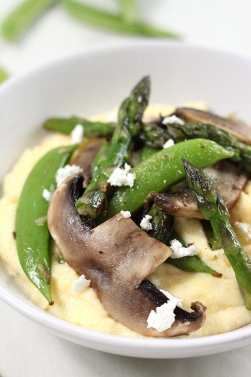 Goats cheese polenta with asparagus and portobellos