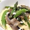 Goats cheese polenta with asparagus and portobellos
