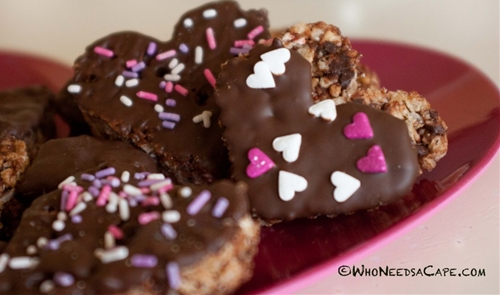 Chocolate Peppermint Rice Crispy Hearts