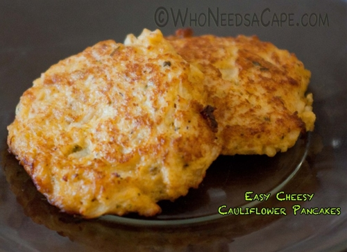 Easy Cheesy Cauliflower Pancakes