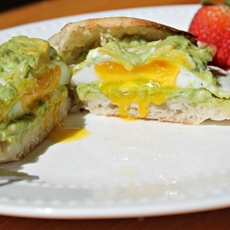 Avocado and Goat Cheese Open Faced Breakfast Sandwich