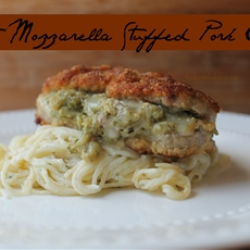 Pesto Mozzarella Stuffed Pork Chops