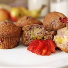 Fresh strawberry and tropical fruit muffins