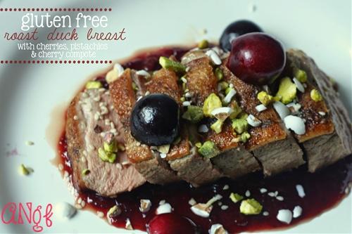 Gluten Free & Paleo Roast Duck Breast with Cherries, Pistachios & Almo