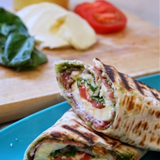 Griddled Caprese Antipasti Wrap with Rocket Pistachio Pesto