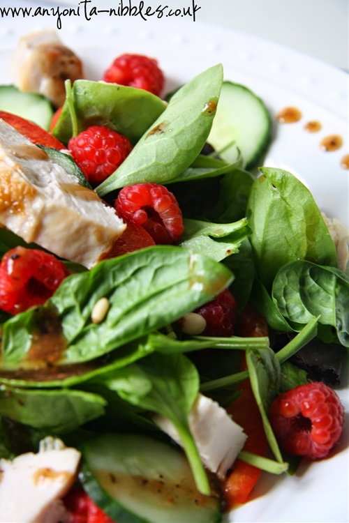 Gluten Free Chicken & Raspberry Salad with Atkins & Potts Black Pepper