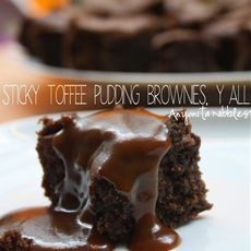 Gluten Free Sticky Toffee Pudding Brownies with Toffee Sauce