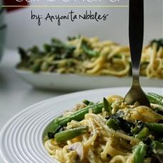 Kale & Wild Mushroom Vegetarian Spaghetti Carbonara #shortcuteggsperts