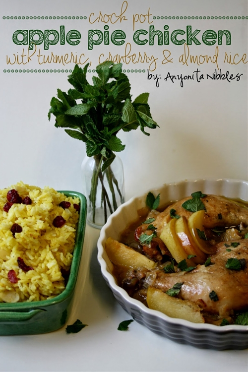 Crock Pot Apple Pie Chicken with Turmeric, Cranberry & Almond Rice