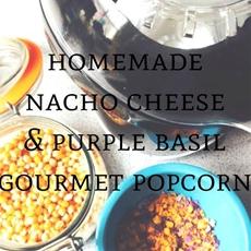 Homemade Nacho Cheese & Purple Basil Gluten Free Gourmet Popcorn